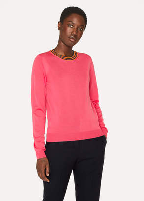 Paul Smith Women's Bright Pink Wool Sweater With 'Artist Stripe' Collar