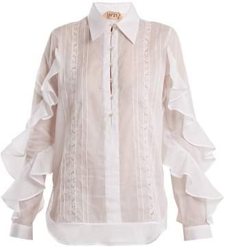 No.21 NO. 21 Ruffle-panelled cotton shirt
