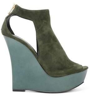 Balmain Cutout Suede Wedge Sandals