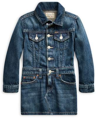 Ralph Lauren Childrenswear Little Girl's Denim Long-Sleeve Dress