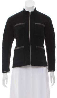 Theory Wool Leather-Trimmed Mock Neck Jacket