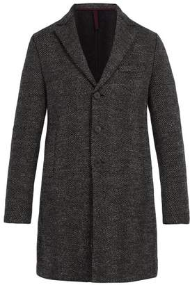 Harris Wharf London Single Breasted Wool Herringbone Overcoat - Mens - Grey