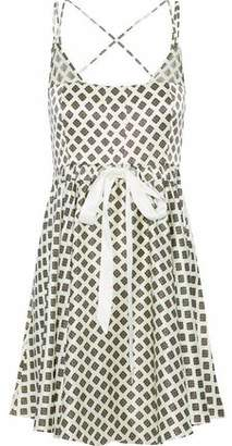 Cinq à Sept Geneva Chiffon-Trimmed Printed Silk Mini Dress