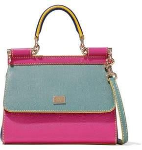 Dolce & Gabbana Sicily Color-Block Textured-Leather Shoulder Bag
