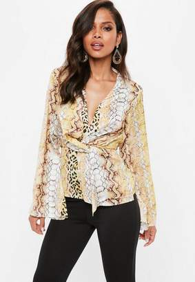 Missguided Yellow Snake Print Drape Front Blouse