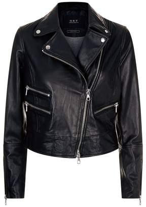 SET Flame Print Leather Biker Jacket