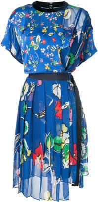 Sacai belted floral print dress