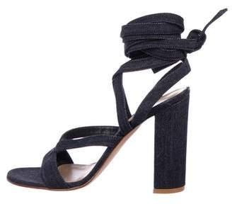 Gianvito Rossi Denim Wrap-Around Sandals