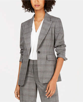 Nine West One-Button Plaid Jacket