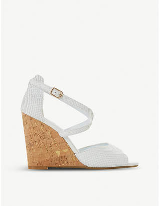 Dune Majave snake-embossed leather wedge sandals