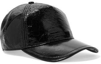 Rag & Bone Marilyn Glossed Textured-leather Baseball Cap - Black