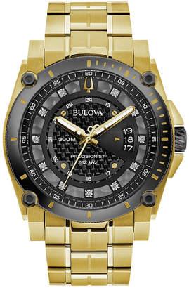 Bulova Men Precisionist Diamond-Accent Gold-Tone Stainless Steel Bracelet Watch 46.5mm