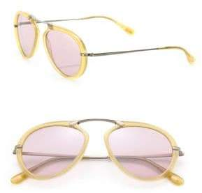 Tom Ford 53MM Round Acetate & Metal Sunglasses