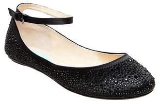 Betsey Johnson Joy Embellished Ankle Strap Flat