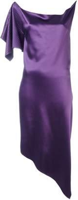 Area draped one sleeve dress