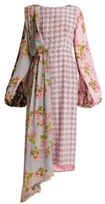 Natasha Zinko Floral Panel Houndstooth Silk Midi Dress - Womens - Pink Multi