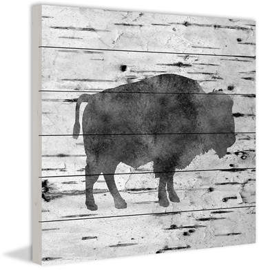 Wayfair 'Bison Birch Bark' by Amanda Greenwood Painting Print on White Wood