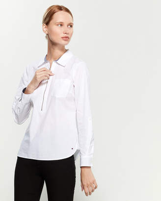 Tommy Hilfiger White Zip-Front Popover Top