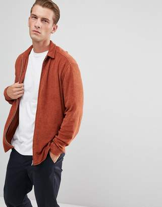 Asos Towel Overshirt With Zip Through In Tan