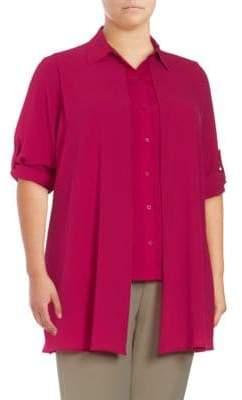 Calvin Klein Plus Solid Asymmetric-Hem Shirt