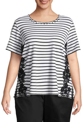 Alfred Dunner In The Limelight Stripe Applique T-Shirt- Plus