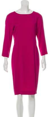 Fendi Long Sleeve Knee-Length Dress Magenta Long Sleeve Knee-Length Dress