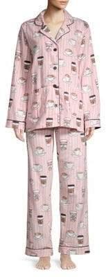 PJ Salvage Two-Piece Coffee Flannel Pajama Set