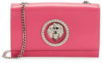 Versace Embellished Logo Leather Clutch Shoulder Bag