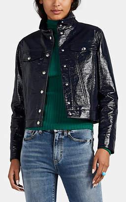 Lisa Perry Women's Snazzy Coated Cotton-Blend Vinyl Trucker Jacket - Navy
