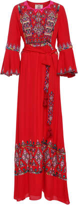 Figue Bijou Embroidered Silk Maxi Dress