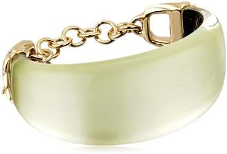 Alexis Bittar Crystal Studded Pleated Toggle Ivory Cuff Bracelet