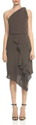 Halston Draped One-Shoulder Dress