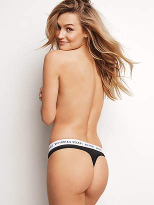 Victoria's Secret Stretch Cotton Logo Thong Panty