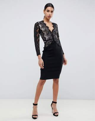 Rare London bodycon midi dress with scalloped lace detail in black