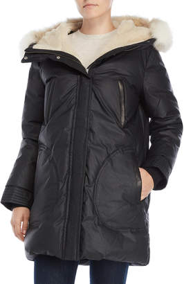 Soia & Kyo Real Fur Trim Sherpa Lined Down Coat