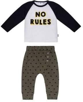 Petit Lem Baby Boy's Monster No Rules Two-Piece Cotton Tee & Jogger Pants Set