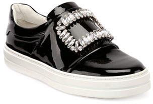 Roger Vivier Patent Strass Buckle Sneakers, Black