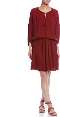 Comptoir des Cotonniers ギャザー タッセルリボン コード飾り タック ドレス レッド 36