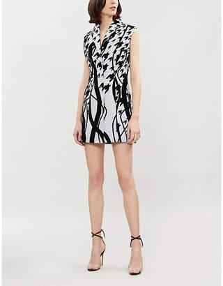 HALPERN Graphic pattern sequin and velvet dress