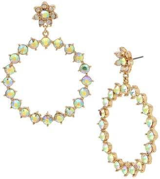 Betsey Johnson Bee Mine Goldtone Crystal Gypsy Hoop Earrings
