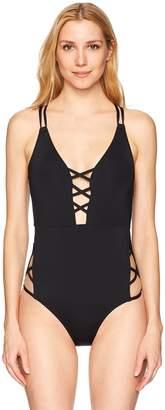 Jessica Simpson Women's Plunge One-Piece Swimsuit Bathingsuit, Chop and Change Black, M