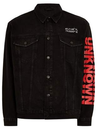 Topman Mens Black Oversized Printed Denim Jacket