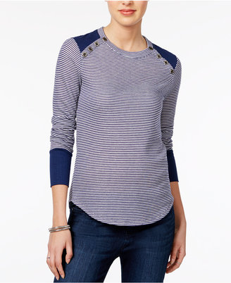 Maison Jules Striped Button-Detail Top, Only at Macy's $49.50 thestylecure.com