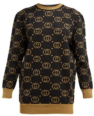 Gucci Gg Jacquard Wool Blend Sweater - Womens - Black Gold