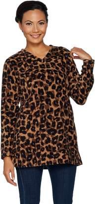 Denim & Co. Regular Animal Print Fleece Tunic w/ Pockets