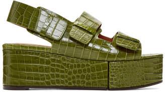 Clergerie Green Croc Arena Sandals