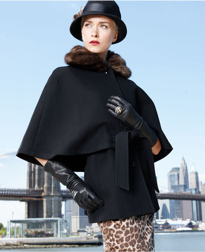 Betsey Johnson Coat, Faux-Fur-Collar Belted Cape