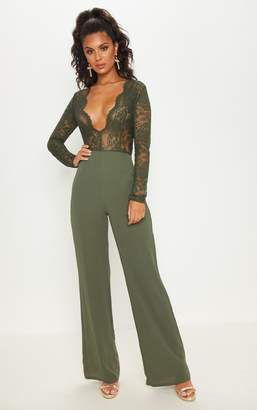 4a5ca6a091 at PrettyLittleThing · PrettyLittleThing Khaki Lace Long Sleeve Plunge  Jumpsuit