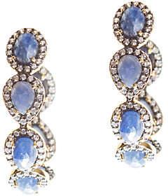 Graziela Gems Sapphire & Zircon Hoop Earrings,Sterling/18K