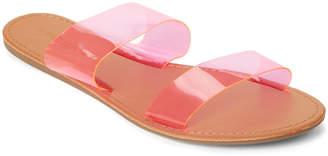 Wild Diva Lounge Pink Clover Neon PVC Slide Sandals
